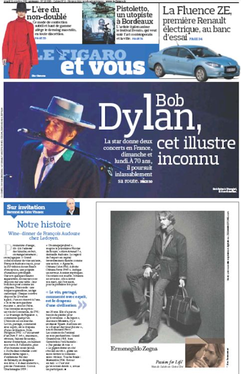 le figaro et vous 2011 Bob Dylan cover story