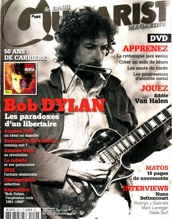 guitarist & bass magazine 2012 Bob Dylan cover story