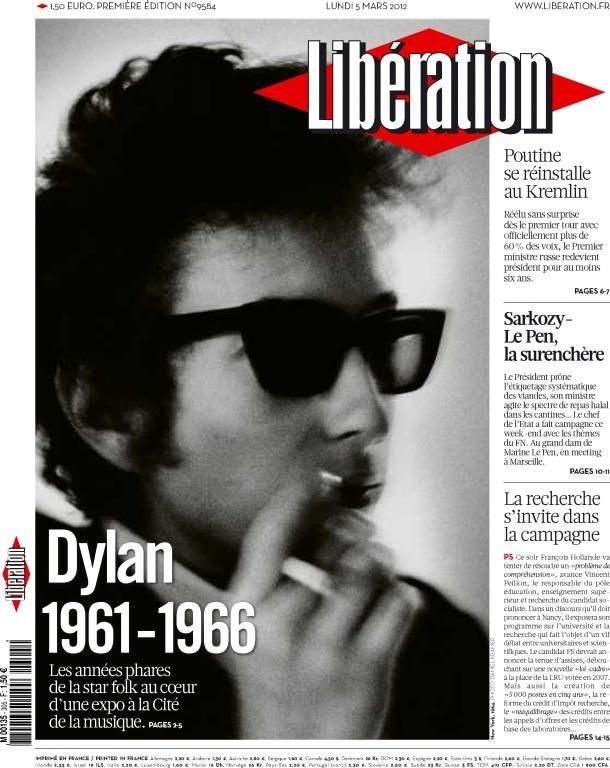 liberation 2012 03 05 french newspaper Bob Dylan cover story