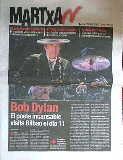 martxan magazine deia supplement Bob Dylan cover story