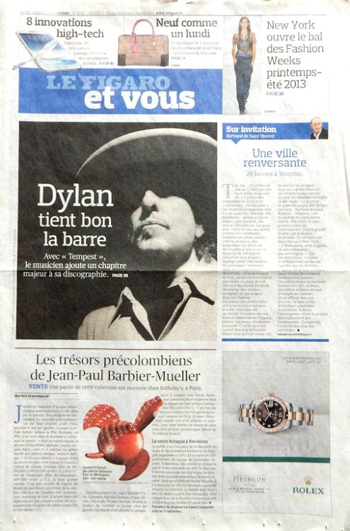 le figaro et vous 2012 magazine Bob Dylan cover story