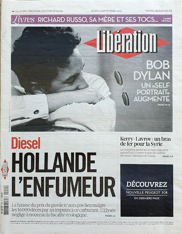 liberation 2012 09 13 french newspaper Bob Dylan cover story