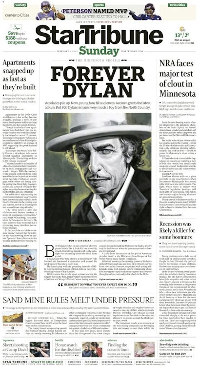 star tribune February 1993 Bob Dylan cover story