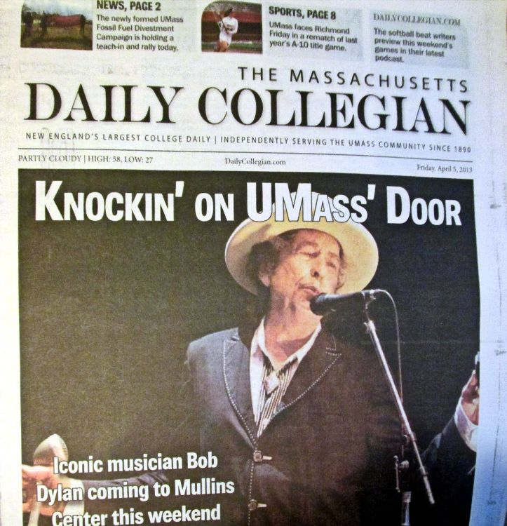 the massachusetts daily collegian 2013 magazine Bob Dylan cover story