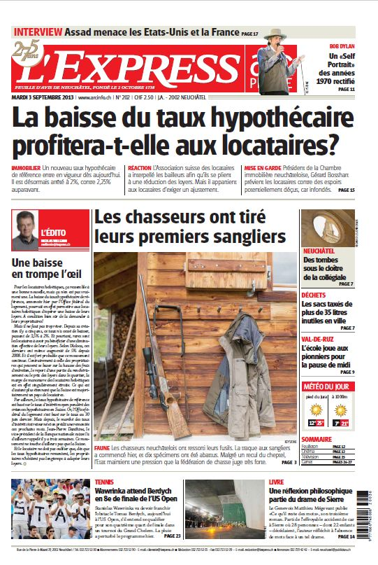l'express switzernand Bob Dylan cover story
