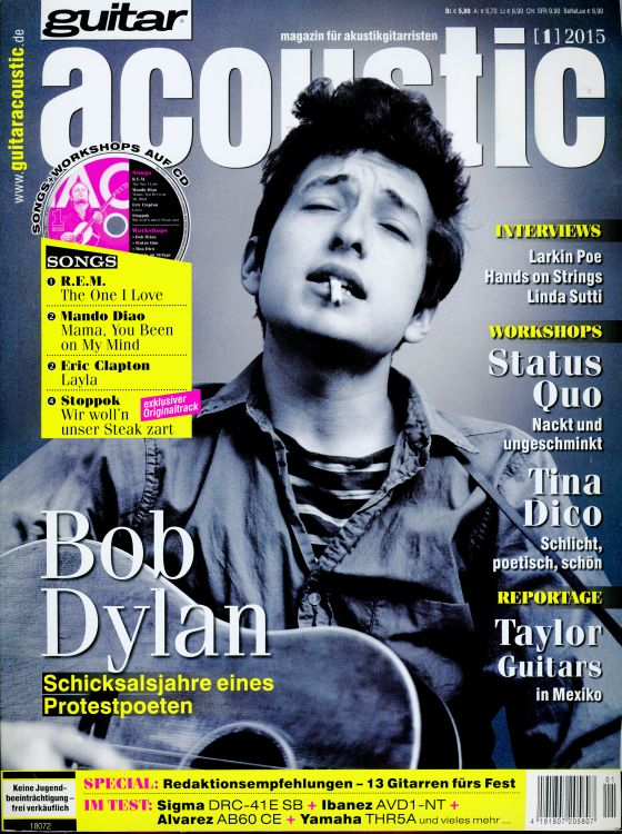 guitar acoustic germany 2015 magazine Bob Dylan cover story