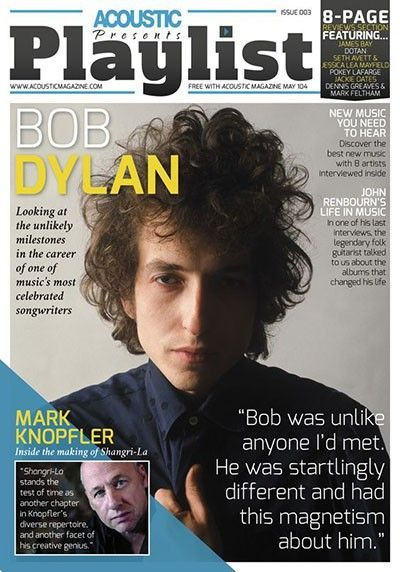 playlist supplement to acoustic magazine Bob Dylan cover story