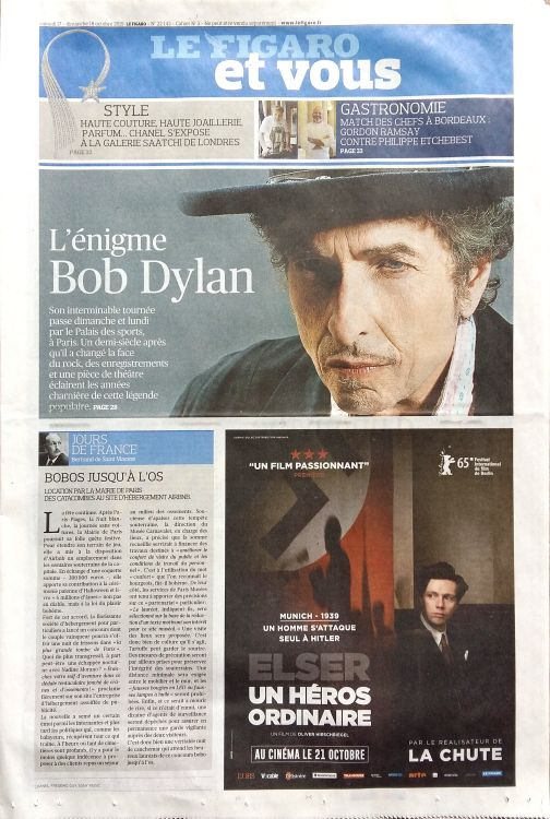 le figaro et vous 2015 magazine Bob Dylan cover story