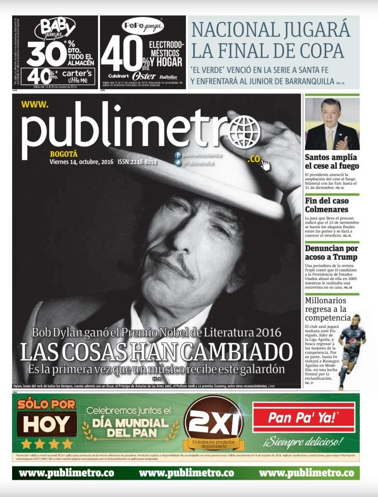 publimetro colombia magazine Bob Dylan cover story