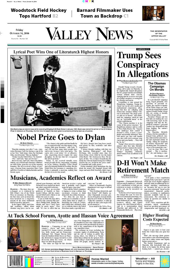 valley news magazine Bob Dylan cover story