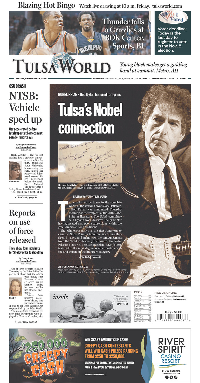 tulsa world magazine Bob Dylan cover story