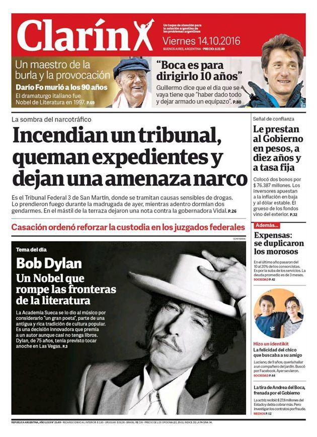 clarin 2016 10 magazine Bob Dylan cover story