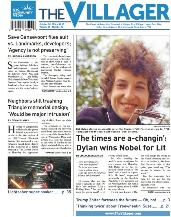 the villager oct 2020 magazine Bob Dylan cover story
