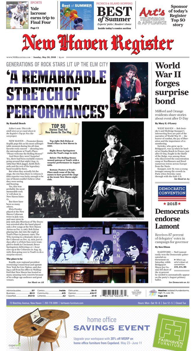 New Haven Register Bob Dylan cover story