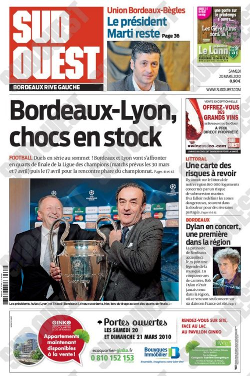 30 March 2020 Sud Ouest Bob Dylan cover story