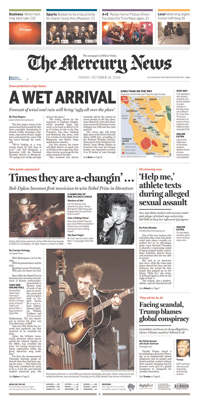 the mercury news magazine Bob Dylan cover story
