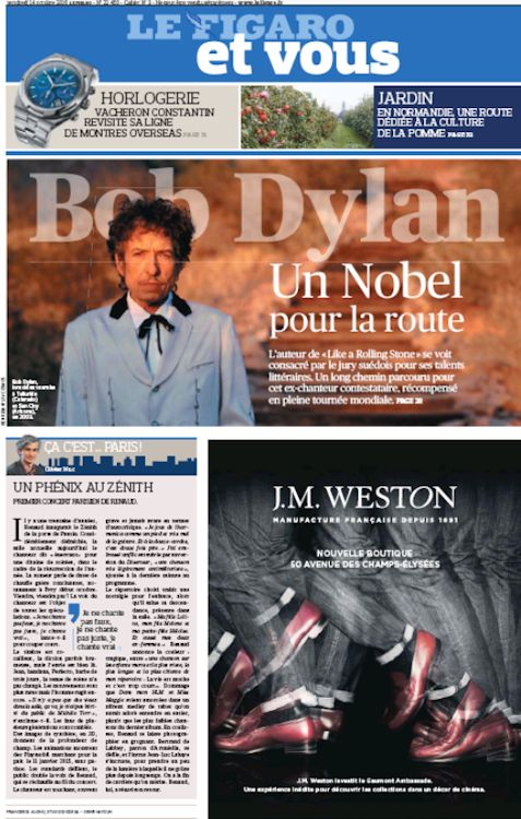 le figaro et vous Bob Dylan cover story