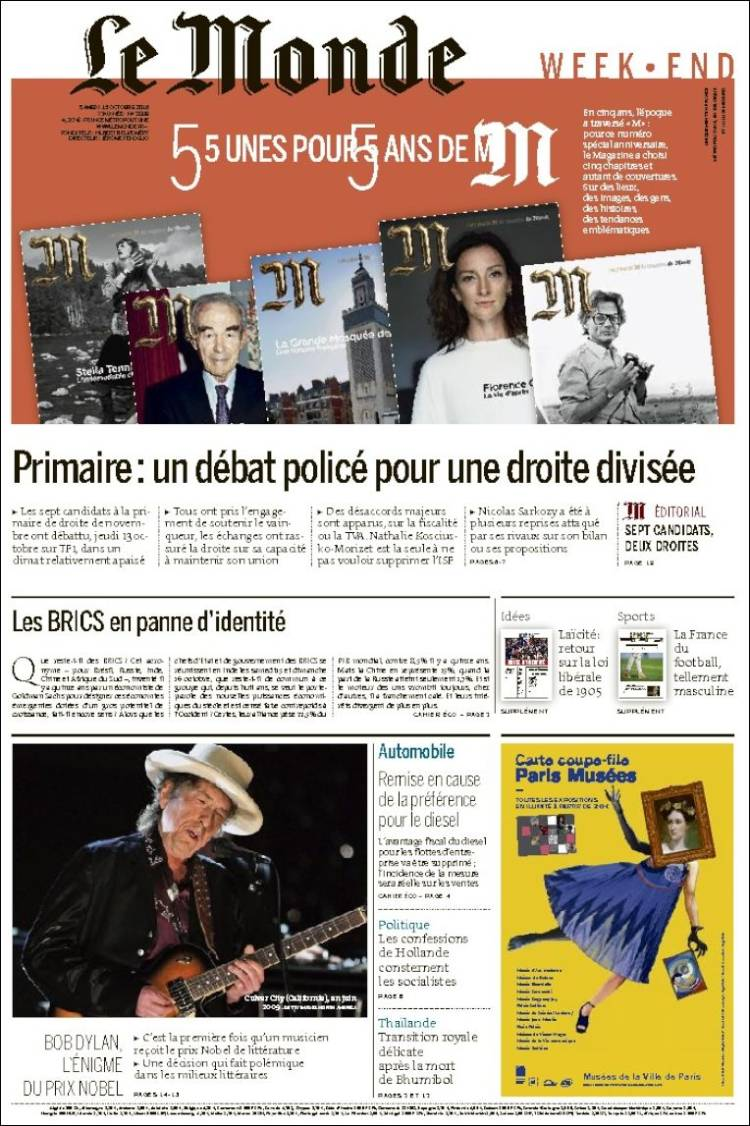 le monde week end magazine Bob Dylan cover story