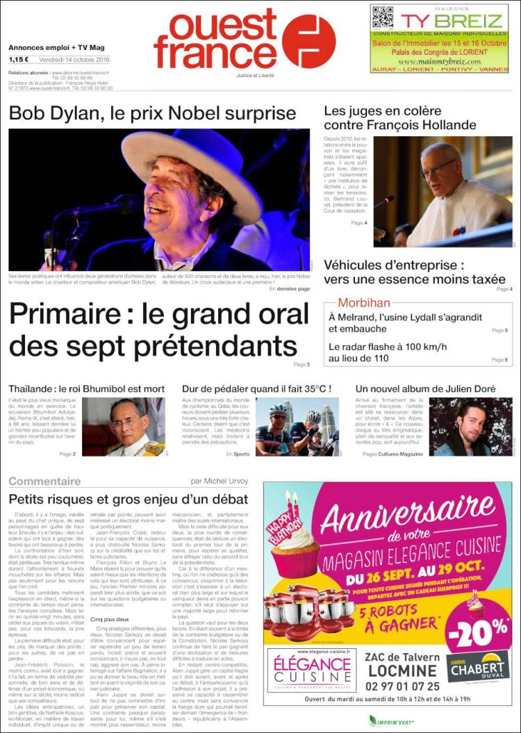 ouest france magazine Bob Dylan cover story