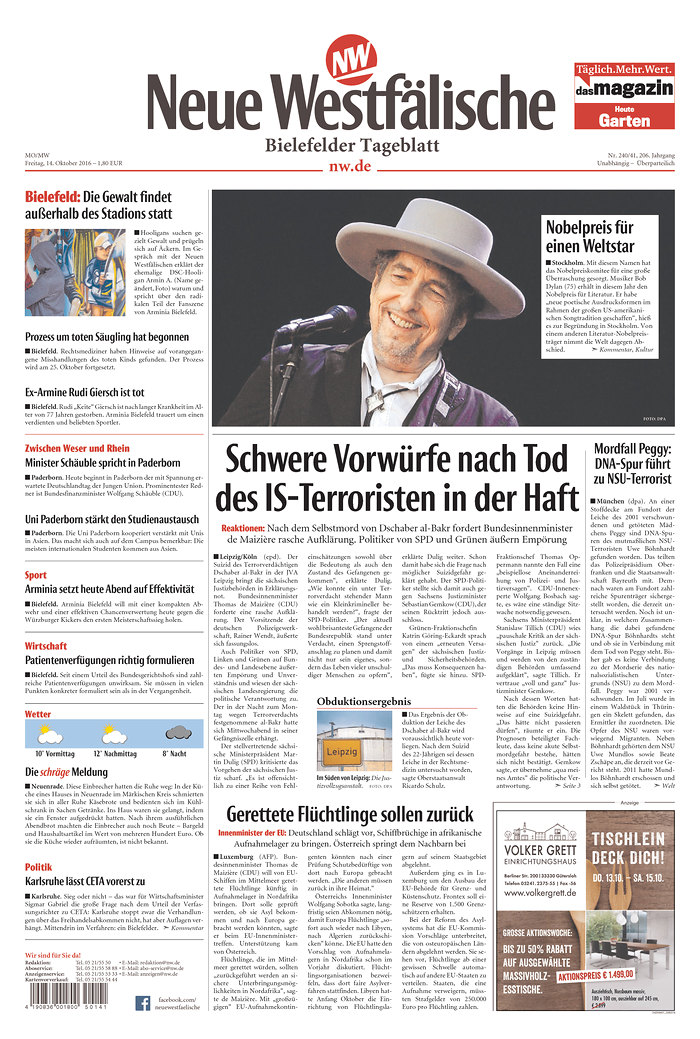 neue westf�lesche magazine Bob Dylan cover story