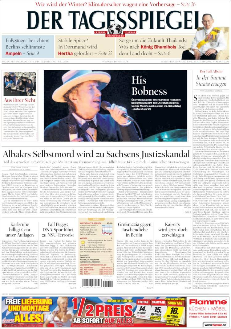 der tagesspiegel magazine Bob Dylan cover story