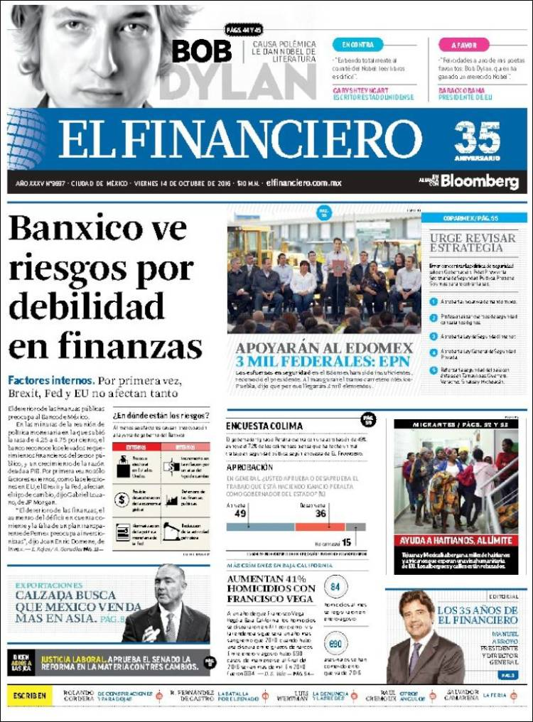 el financiero mexico magazine Bob Dylan cover story