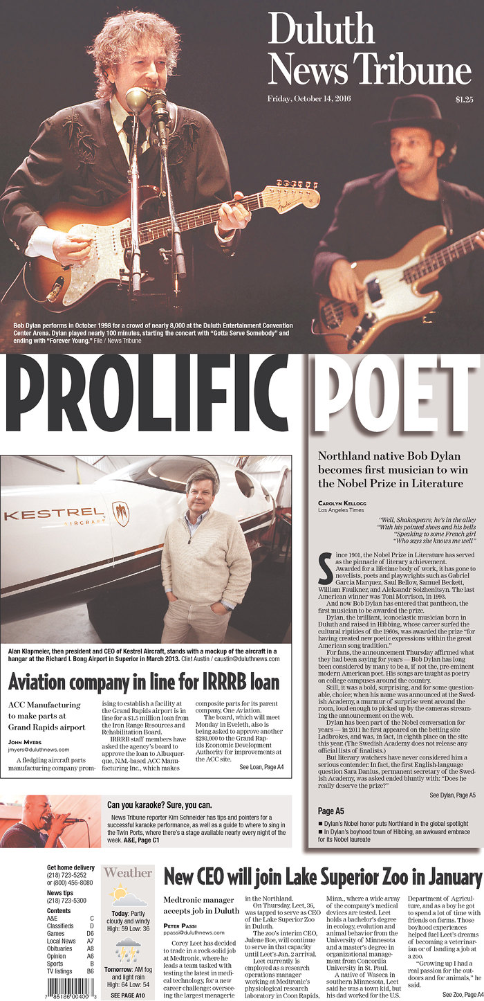 duluth news tribune magazine Bob Dylan cover story