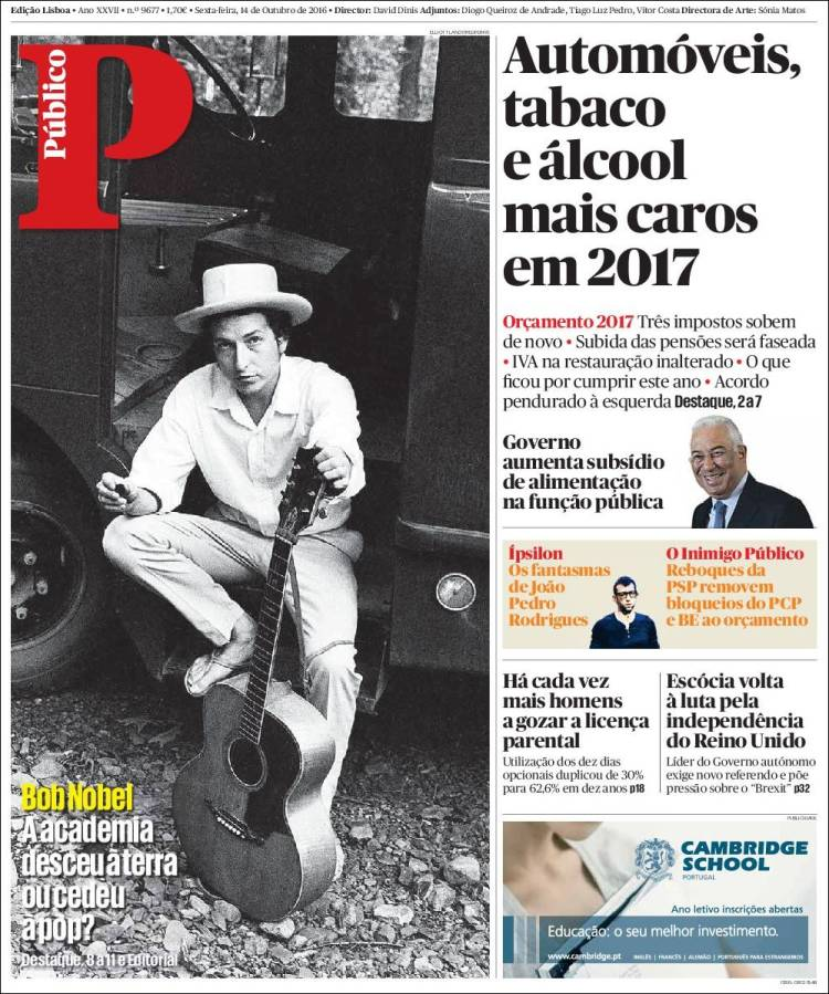 publico portugalmagazine Bob Dylan cover story