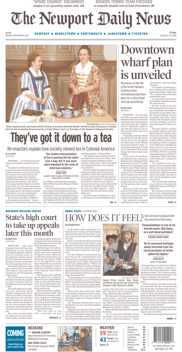 newport daily news magazine Bob Dylan cover story