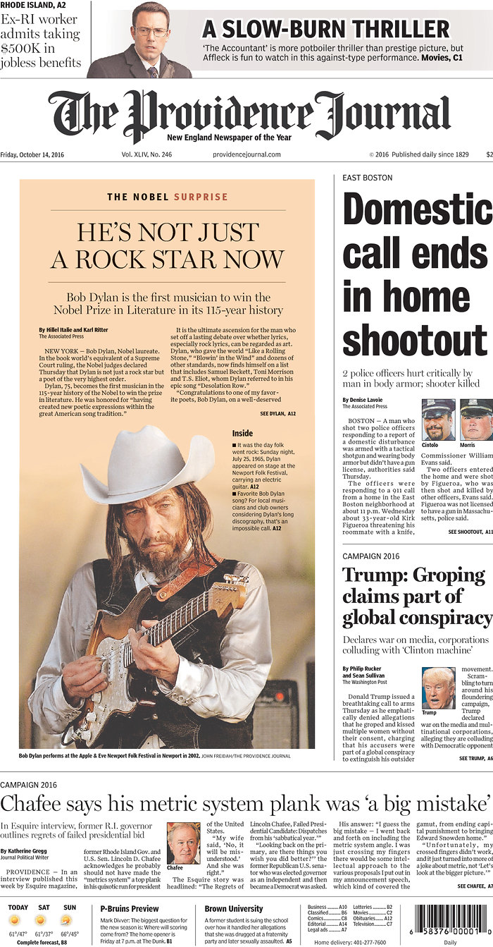 the providencial journal magazine Bob Dylan cover story