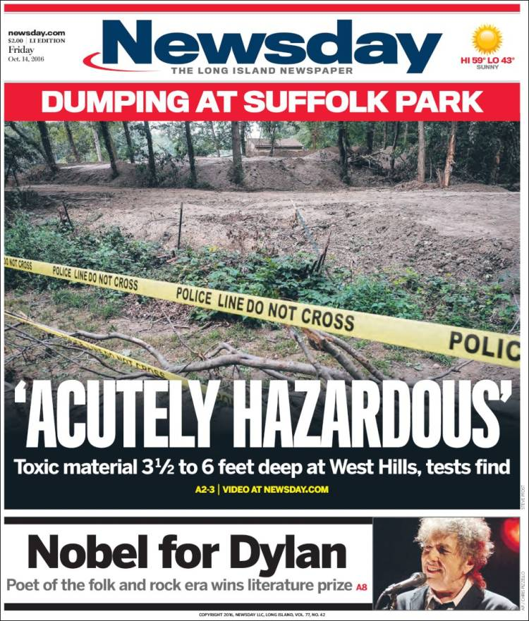 newsday magazine Bob Dylan cover story