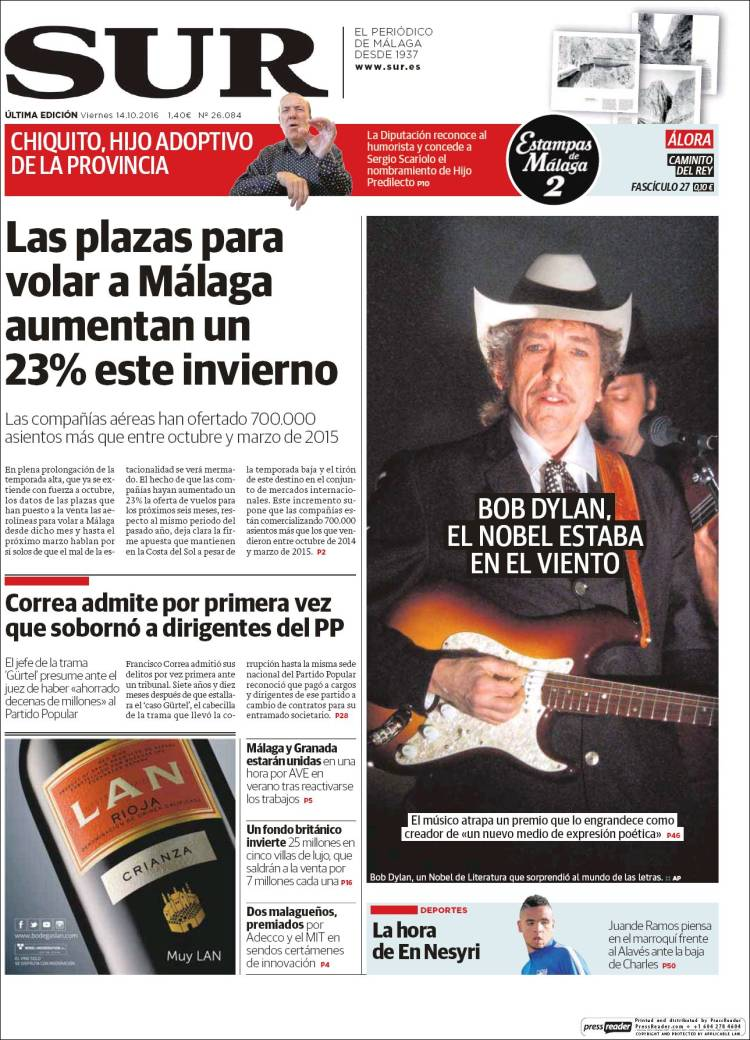 sur malaga magazine Bob Dylan cover story
