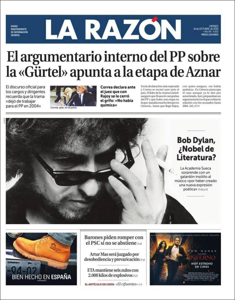 la razon spain magazine Bob Dylan cover story