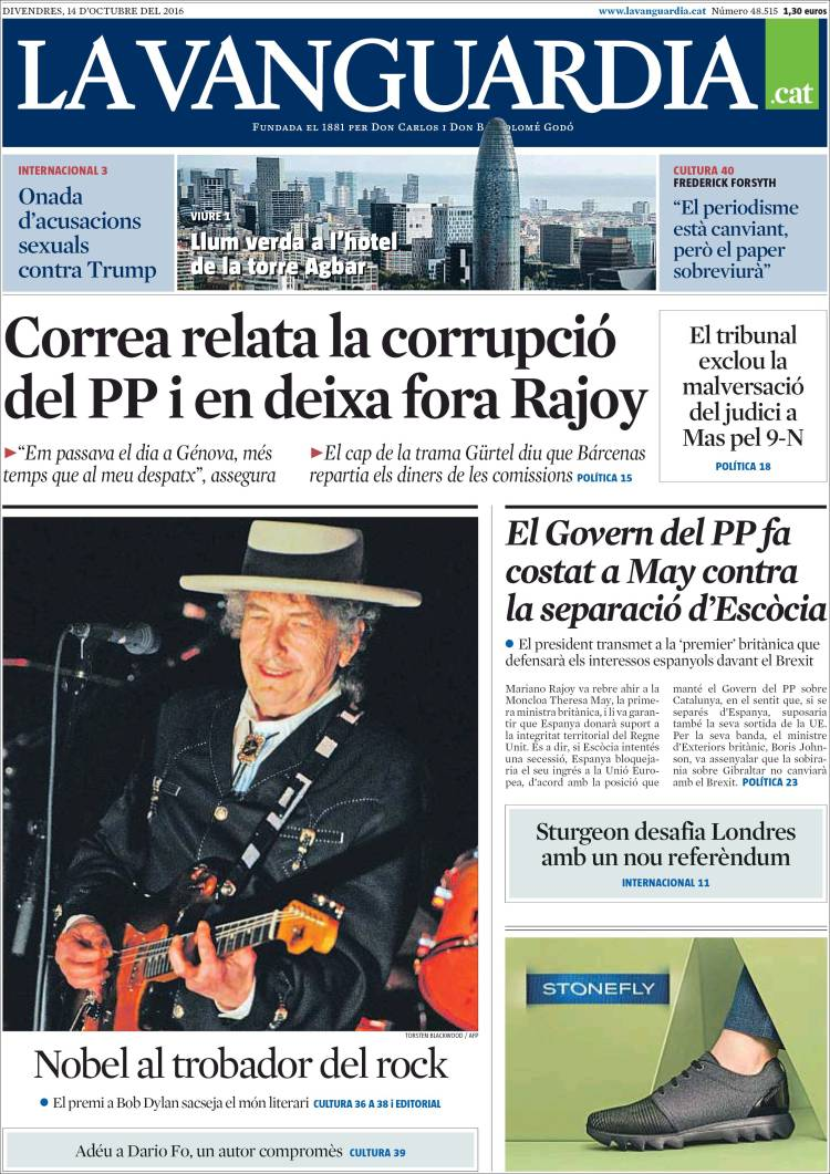 la vanguardia spain magazine Bob Dylan cover story