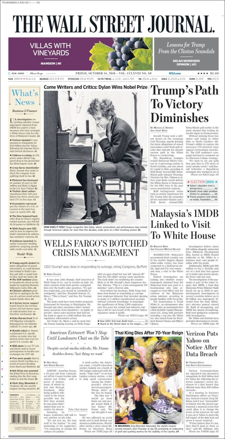 the wall street journal magazine Bob Dylan cover story
