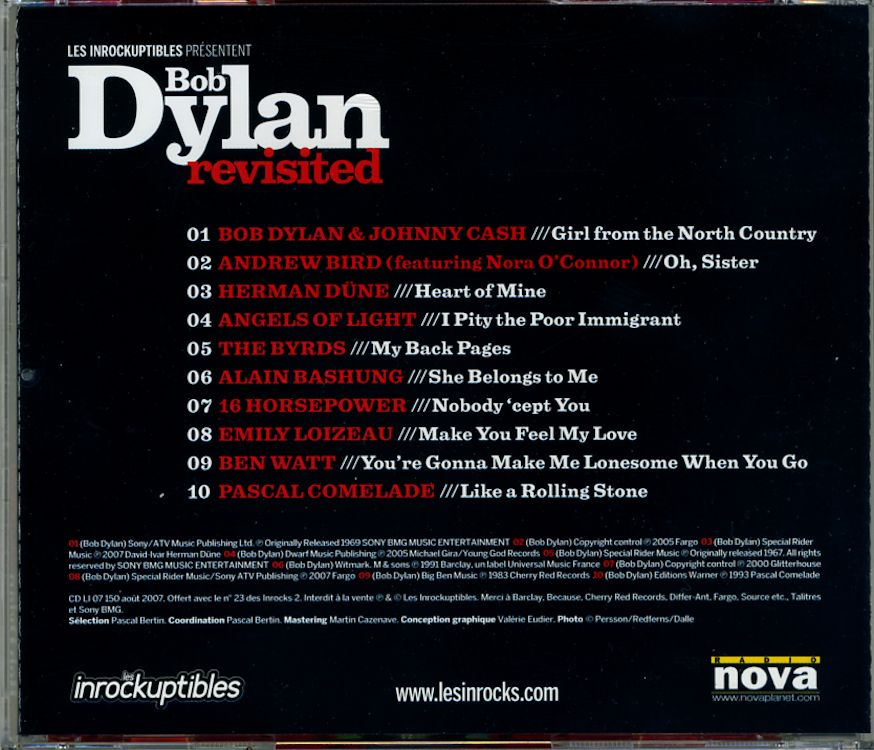 Les Inrocks 2007 CD back magazine Bob Dylan cover story