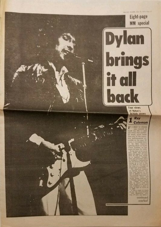Melody Maker 24 June 1978 Bob Dylan 8 page special