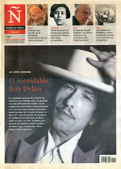 clarin argentina Ñ supplement 13 August 2006 Bob Dylan cover story