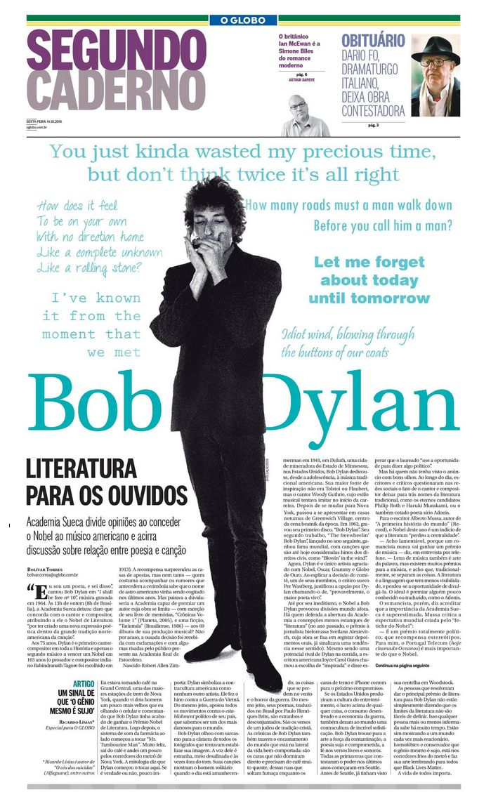 o globo 14 oct 2016 supplement Bob Dylan cover story