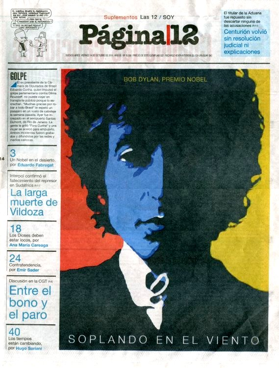 pagina 12 2016 10 magazine Bob Dylan cover story