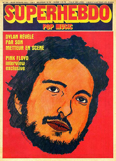superhebdo magazine france March 1972 Bob Dylan cover story