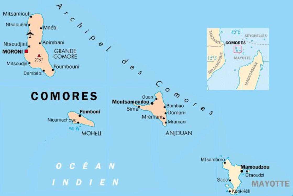 map of comores