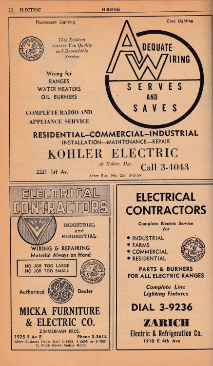 Hibbing telephone directory micka furnitures electric co 1953