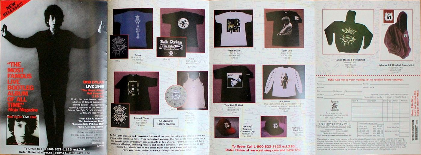 bob dylan official merchandising sales catalogue 1998 (2)