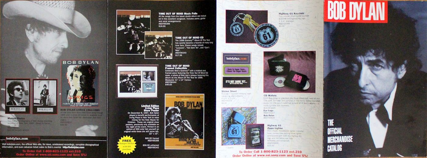 bob dylan official merchandising sales catalogue 1998
