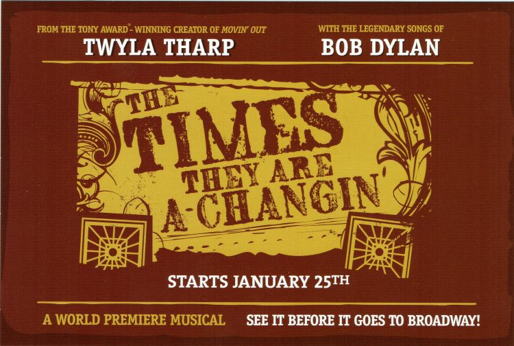 Bob Dylan theater the times they are a-changing programme