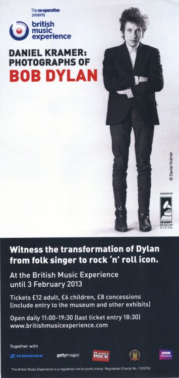 DANIEL KRAMER: PHOTOGRAPHS OF BOB DYLAN (London 2013) exhibition