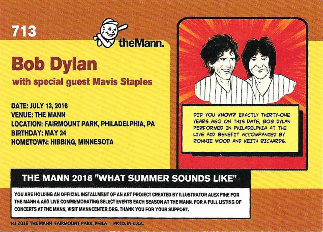 bob dylan trading card the mann 2016 philadelphia concert back
