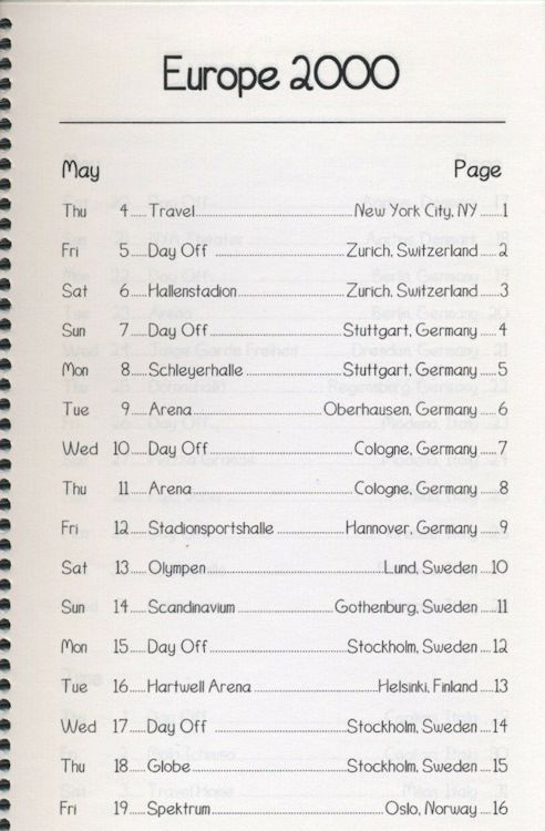 tour itineraries europe 2000 bob dylan page 1