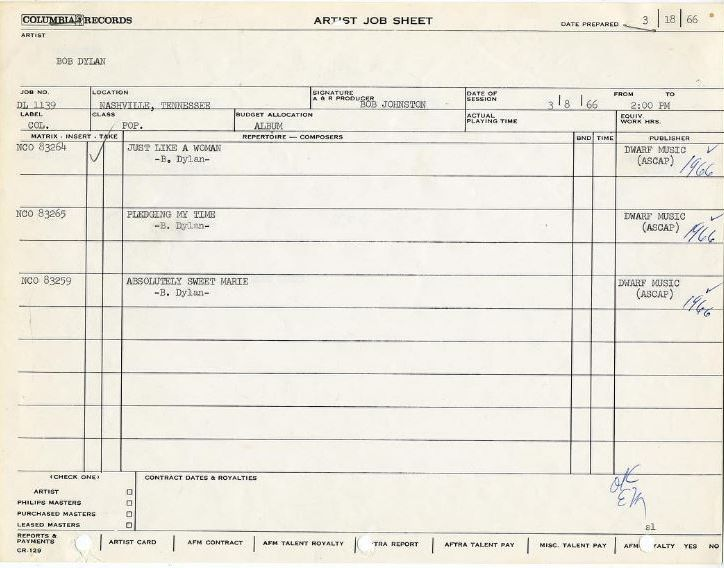 bob dylan artist job sheet 08 March 1966
